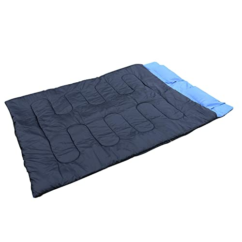 HOMCOM Camp Camping Travel Double Sleeping Bag Sleep Cozy Thick Warm Waterproof Black & Blue New