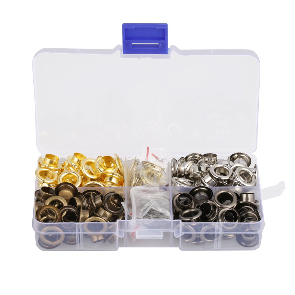 Grommet Tool Kit,140 Set/Box 8mm Inside Diameter Brass Eyelet Grommet Set for Canvas Clothes and Leather DIY Craft Washer Self Backing