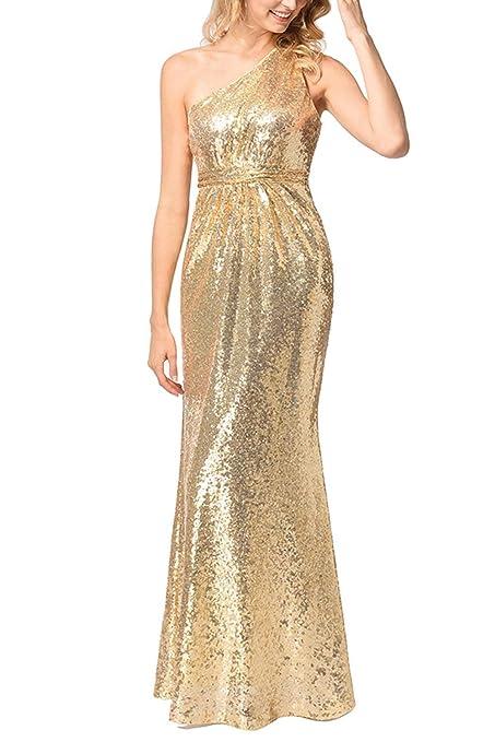 Yisaesa Vestido de Noche de graduación de Dama de Honor con Lentejuelas en un Hombro (