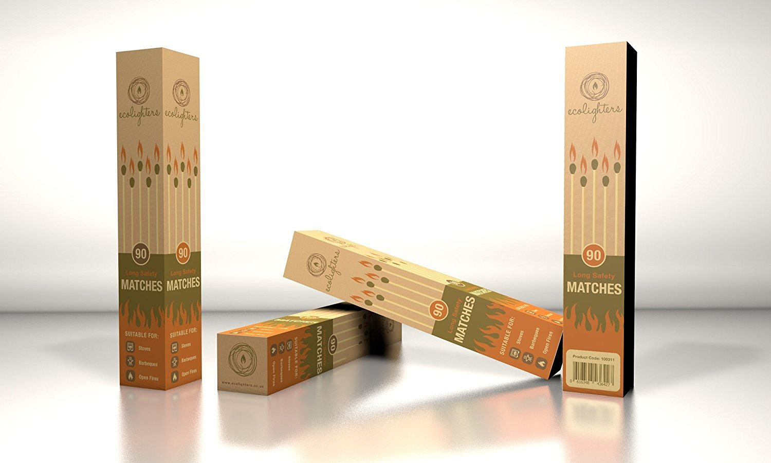 Ecolighters® 2 Boxes of Long Matches Perfect for Stove BBQ ,Open and gas fires , cookers