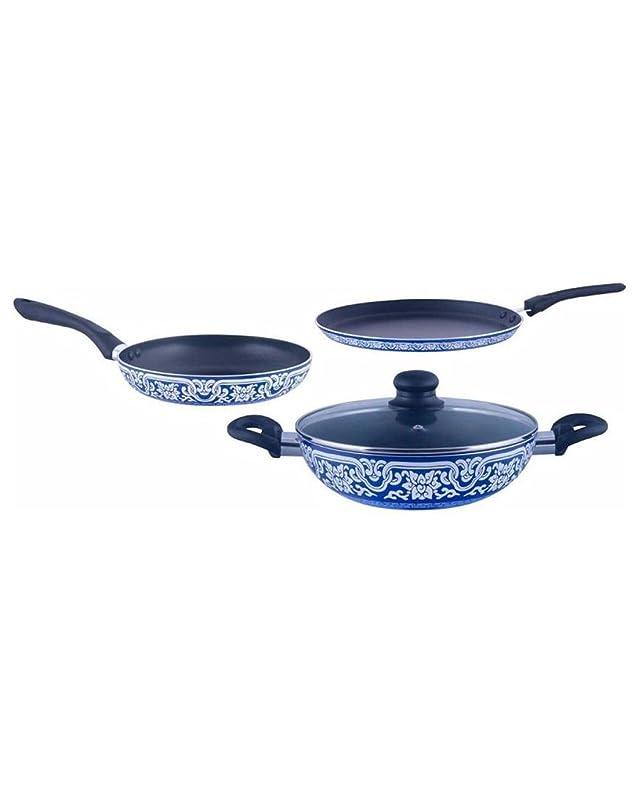 Brilliant Blue Pottery 4pc Nonstick Induction based Cookware Set Pot & Pan Sets at amazon