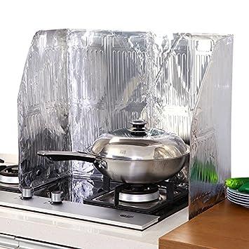 CWAIXX Aluminio papel de aluminio resistente al calor aislante aceite estufa aceite bisel deflectores aceite salpica todo el papel de separación, ...