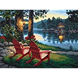 5D DIY Diamond Painting Kit, Embroidery Painting Wall Sticker for Wall Decor, Full Drill, Two Chairs Beside the Lake (12 x 16inch)