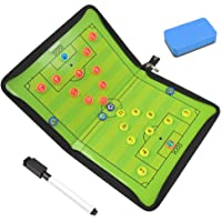FOCCTS Magnetic Soccer Tactic Coaching Board with 26 Magnets, Dry Erase Marker, Eraser, Foldable and Portable Football Coach Tool