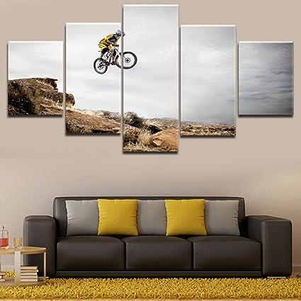 mmwin Arte de Pared de Lona Modular de impresión HD 5 Piezas Bicicleta Salto montaña Imagen Bicicleta Deporte para el hogar Cartel Decorativo: Amazon.es: Hogar