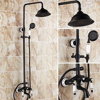 Luxury Oil Rubbed Bronze Bath Shower Faucet Set 8 Rain Shower