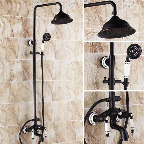 Rozin Oil Rubbed Bronze Bathtub Shower Faucet Set 8-inch Rainfall Shower Head + Hand Sprayer Porcelain Deco (Porcelain Tub Set)