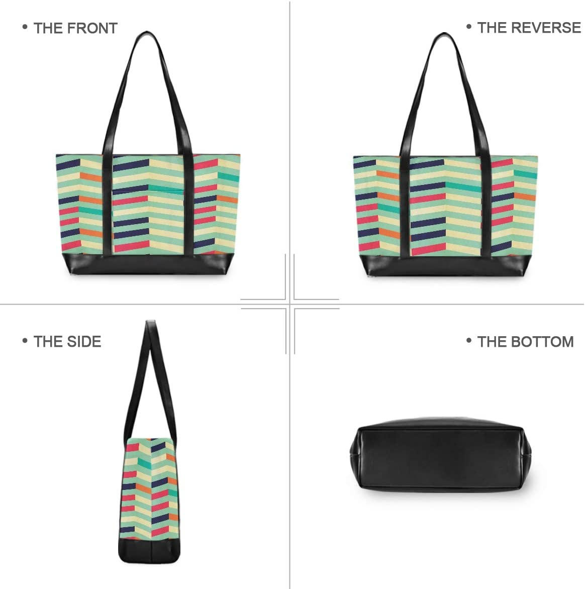 Large Woman Laptop Tote Bag Abstract Color Stripes Canvas Shoulder Tote Bag Fit 15.6 Inch Computer Laptop Bags for Work School Hiking Trekking