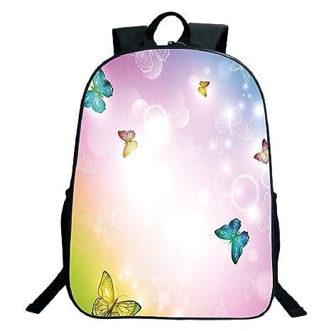 bae501555765 Amazon.com: 3D Print Design Black School Bag,backpacksRainbow ...