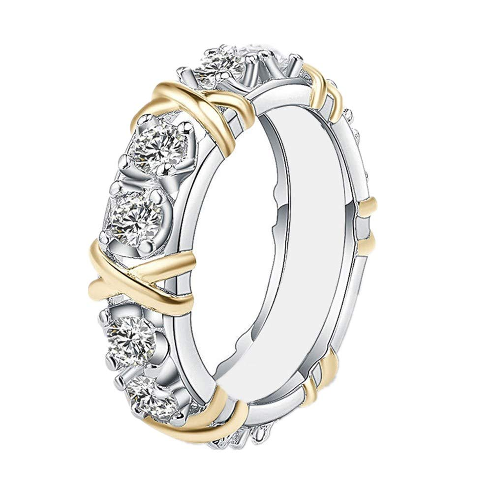 Ring Laimeng 2-in-1 Womens Vintage White Diamond Silver Engagement Wedding Band Ring Set (6, Colorful)