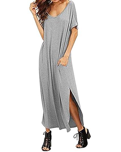 7e44396125 Kidsform Women Long Maxi Dress Side Split Casual Loose Short Sleeve Beach  Sundress with Pockets Grey