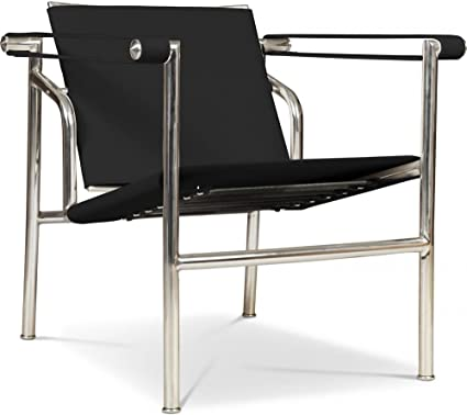Lc1 Tilting Chair Inspired By Le Corbusier Imitation Leather Black Amazon Co Uk Kitchen Home