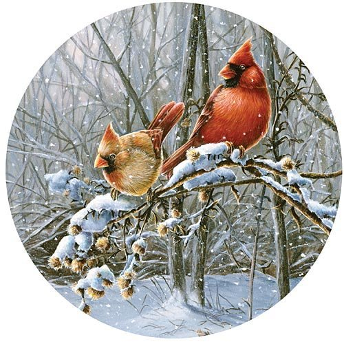 Bits and Pieces - 300 Piece Round Puzzle - Snow Fire, Cardinals in the Winter - by Artist Wanda Mumm - 300 pc Jigsaw