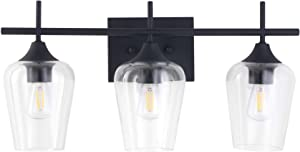 CO-Z 3-Light Vanity Light in Matt Black Finish, Vintage Farmhouse Mirror Lights with Clear Glass Shade, Modern Industrial Wall Sconce for Bathroom, Bedroom, Hallway, Makeup Dressing Table