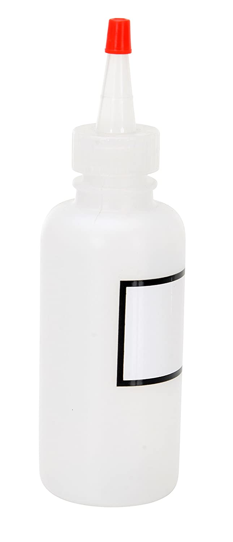 Translucent Round Graduated Dispensing Bottle with Label and Red Cap LDPE Vestil BTL-RC-4-LBL Low Density Polyethylene 4 oz Capacity