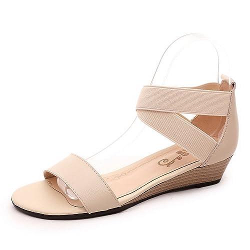 Cuña Mujeres Cordón Sandalia Mini es y complementos Zapatos Puntera elástico de Amazon Abierta VogueZone009 Tacón Sólido TnqaUa1v