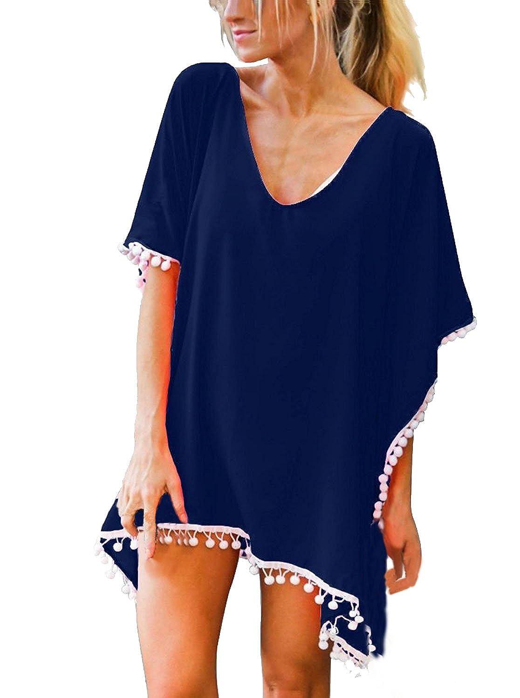 Lannister Fashion Damen Strandtunika Elegant Chiffon Kurzarm V-Ausschnitt Beach Sunscreen Bikini Cover up Minikleid Beachtime Beachwear Uni-Farben Locker Casual Mode Quaste Strandkleid