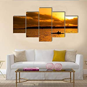 TOPJPG Canvas Wall Art Painting Pictures Fisherman Silhouette Kayak Orange Lake Sunset Decoration Wall Decor Bathroom Living Room Bedroom Kitchen Framed Ready to Hang