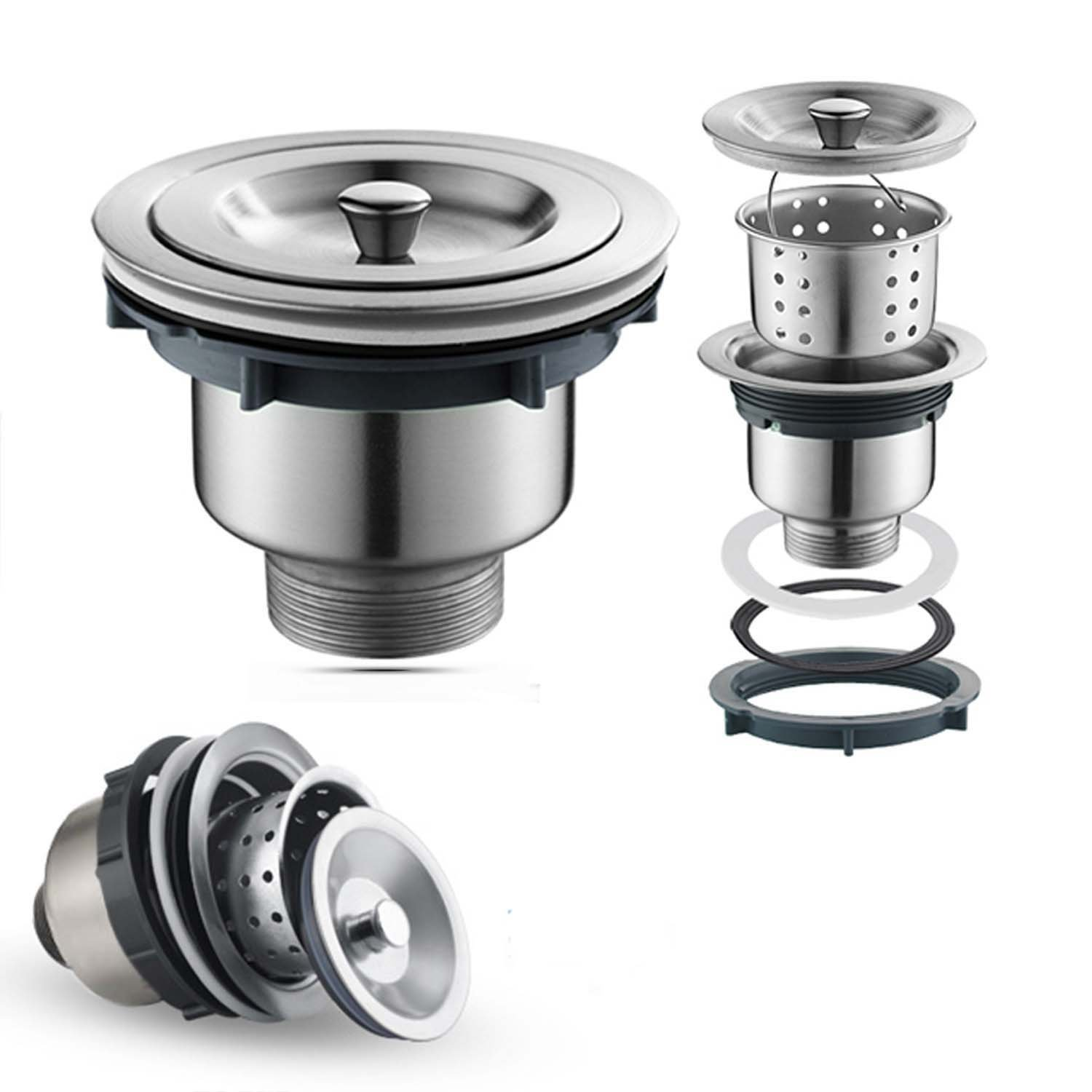 Oakland 3-1/2 inch Kitchen Sink Strainer with Removable Deep Waste Basket/Drain Strainer Assembly/Sealing Lid, Stainless Steel