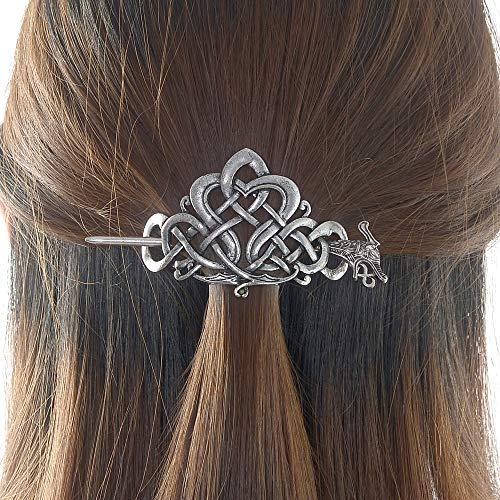 Viking Dragon Celtic Hairpins Clips- Norse Celtic Knot Hair Accessories Hair Slide Hair Barrettes Irish Hair Decor for Long Hair Jewelry Braids Hair Stick With Dragon Design (Dragon-NC1)