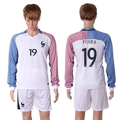 sale retailer a54b1 495db 2016-2017 France 19# Paul Pogba Away Customized Men's Soccer ...