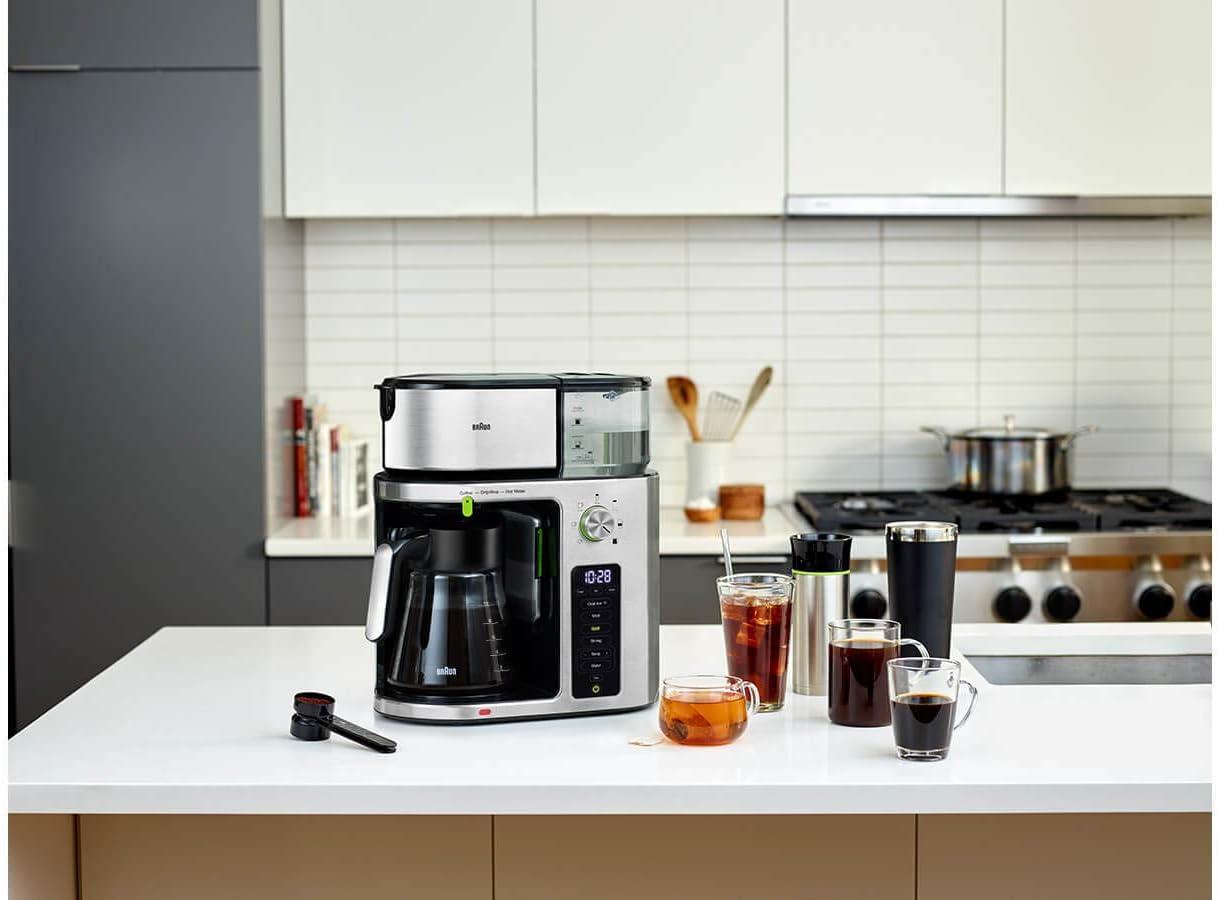 Braun MultiServe KF 9170 Filterkaffeemaschine mit Direktwahl von 7 Portionsgr/ö/ßen von einer kleinen Tasse bis zu einer Kanne f/ür bis zu 10 Tassen Touch Display Teefunktion inkl 1.750 W silber