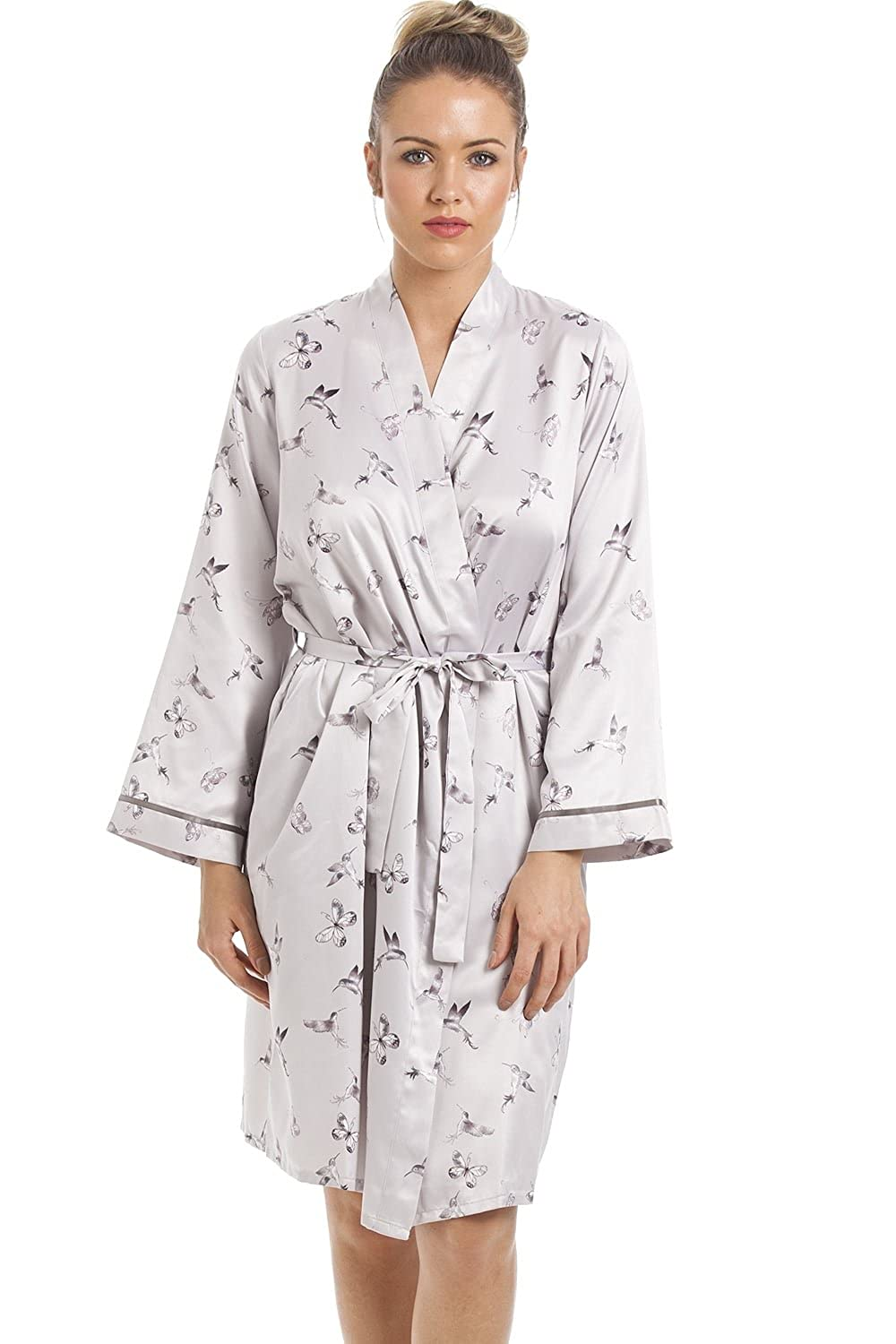 Camille Womens Ladies Silver Humming Bird and Butterfly Print Satin Wrap