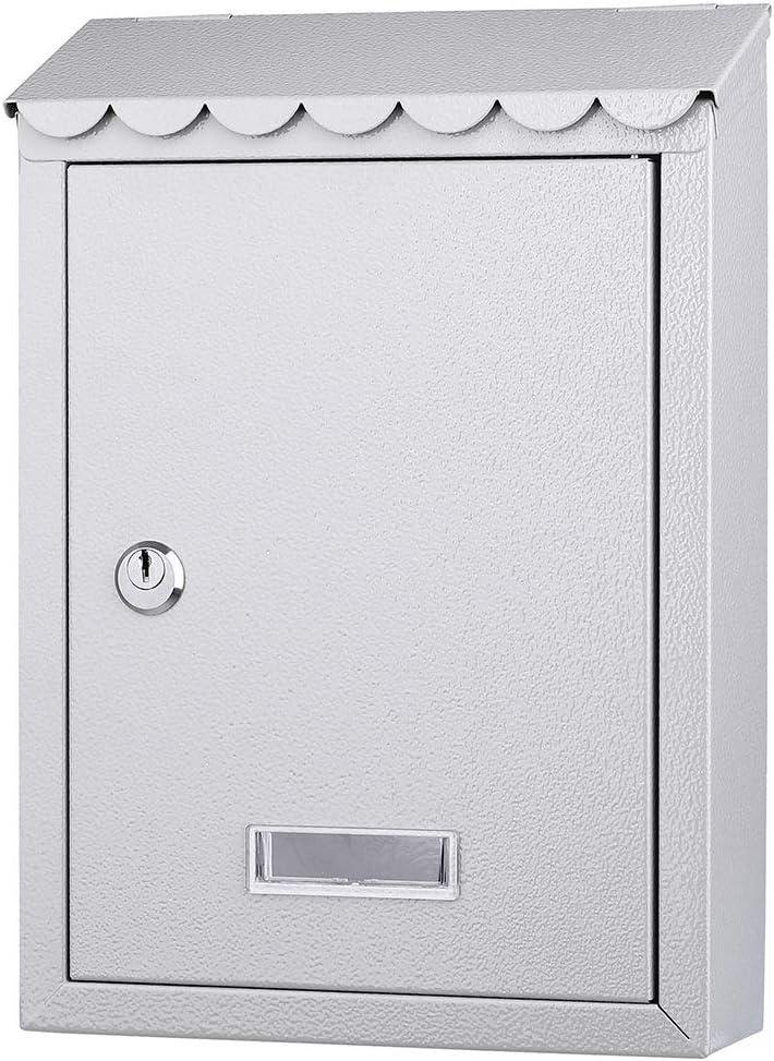 Bakaji 2832148 Buz/ón de pared de acero inoxidable gris buz/ón para correo de exterior con cierre de llave