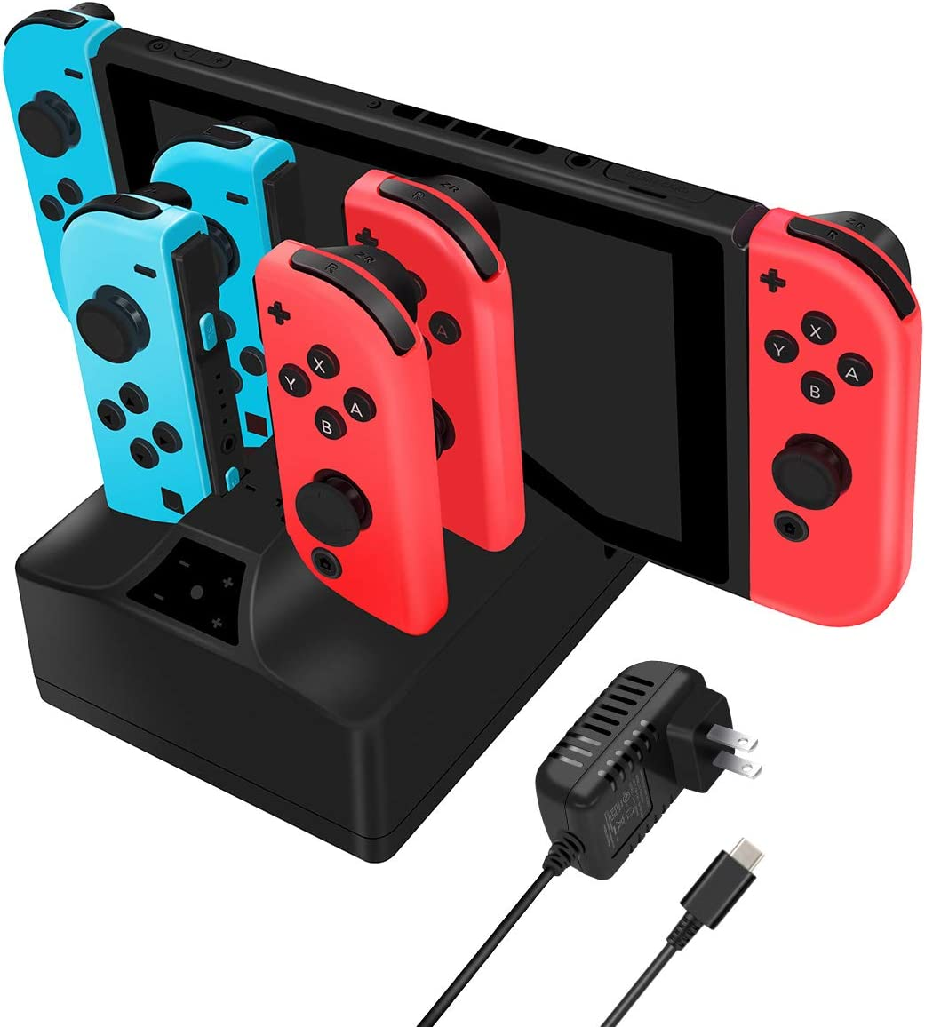 Charging Station for Switch, Y Team 5 in 1 Charging Dock for Switch Console and Joy Con Controller with 5FT Cable and AC Adapter