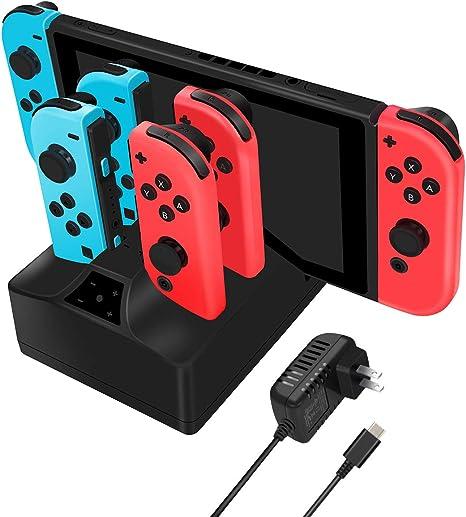 Estación de carga para Nintendo Switch, Y Team 5 en 1 Base de carga para Nintendo Switch Console y Joy con controlador con cable de 5 pies y adaptador de CA: Amazon.es: Videojuegos