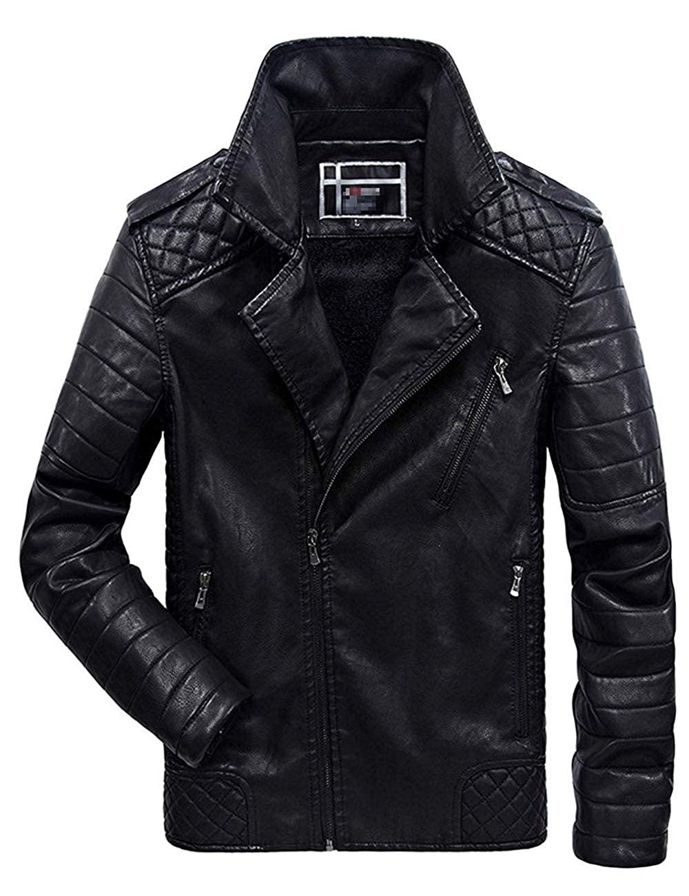 sadness n Mens Asymmetrical Zip Up Fur Lined Faux Leather Jacket