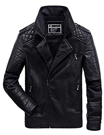 1c5b281bfed7 Amazon.com: sadness n Men's Asymmetrical Zip Up Fur Lined Faux Leather  Jacket: Clothing