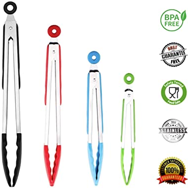 ChefNeno Silicone Tongs Stainless Steel Kitchen Tongs with Silicone Tips Set of Four - 7, 9, 12, and 14 Inch Non Stick Silicone Tongs for Cooking Grilling Barbecue BBQ and Serving Salad, 4 Pack