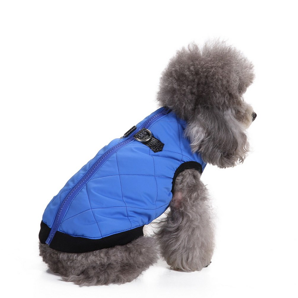 SMALLLEE_LUCKY_STORE XCW0042-blue-M Vest Jacket Dog Winter Coat with Hole, Blue, Medium