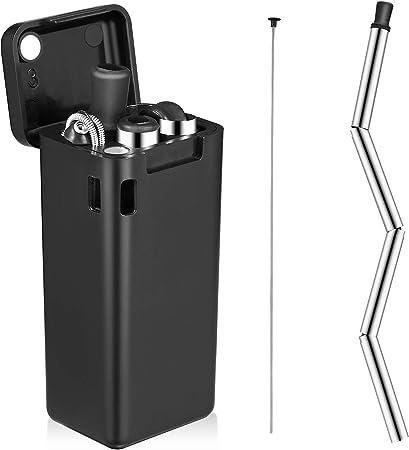 Porte-cl/és la maison Lot de 4 pailles pliables r/éutilisables en silicone Pailles pliables en acier inoxydable avec /étui rigide les voyages Parfait pour le bureau
