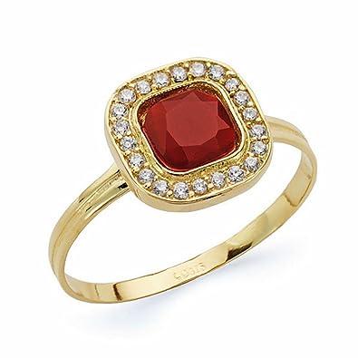 Goldring mit rotem stein  18 Karat Gold Ring aus rotem Stein 9mm. square [AA2352]: Amazon.de ...
