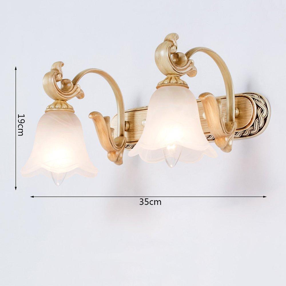 Modeen Europäischen E14 E14 E14 Glas Lampenschirm Spiegel Scheinwerfer Badezimmer Harz LED Spiegelleuchten Wandleuchte Toilette Waschen Tischlampen Wandleuchte (Größe   Double Heads) e43eb8