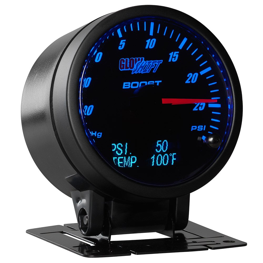 GlowShift 3in1 Analog 30 PSI Boost/Vacuum Gauge Kit with Digital 150 PSI Pressure & 300 F Temperature Readings - 10 Selectable LED Colors - Black Dial - Tinted Lens - 2-3/8'' 60mm
