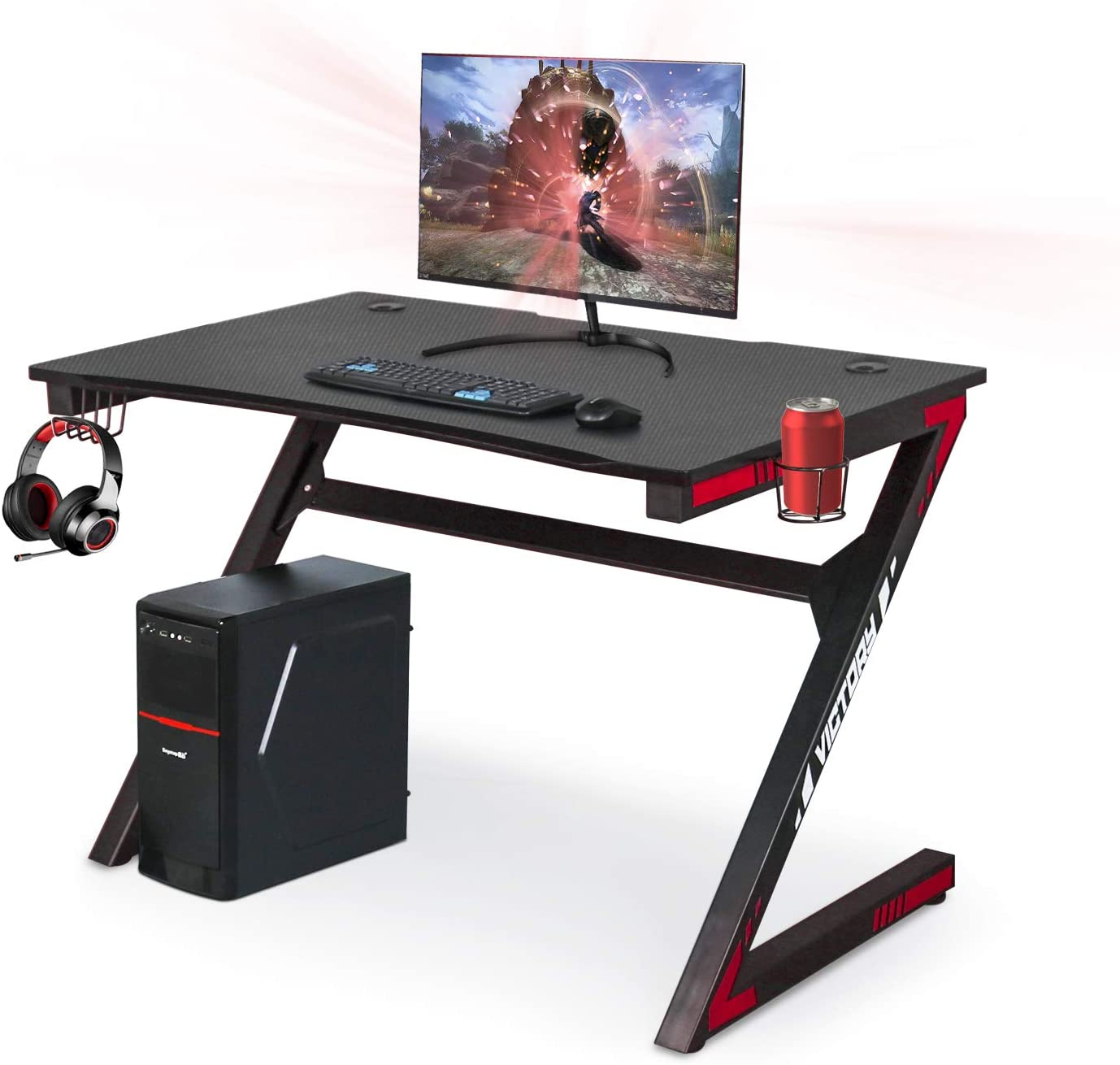 Gaming Computer Desk 46 Inch Large Gaming Table Z Shape Black Racing Table Student Desk with& Headphone Hook for Kids Adults Home Office Bedroom Computer Workstation