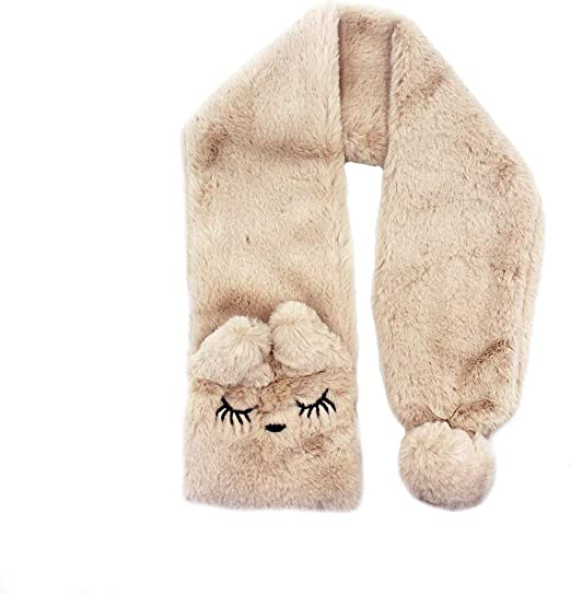 RARITYUS Kids Soft Fur Winter Scarf Cute Rabbit Warm Wrap Shawl Neck Warmer with ears Shawl for Boys Girls Baby