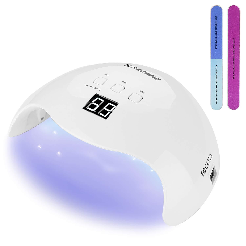 NAVANINO Lámpara Secador de Uñas, LED/UV Gel Esmalte de Uñas Curado Luz Máquina,3 modos de tiempo,99s Modo de calor bajo y Pantalla LED Para ...