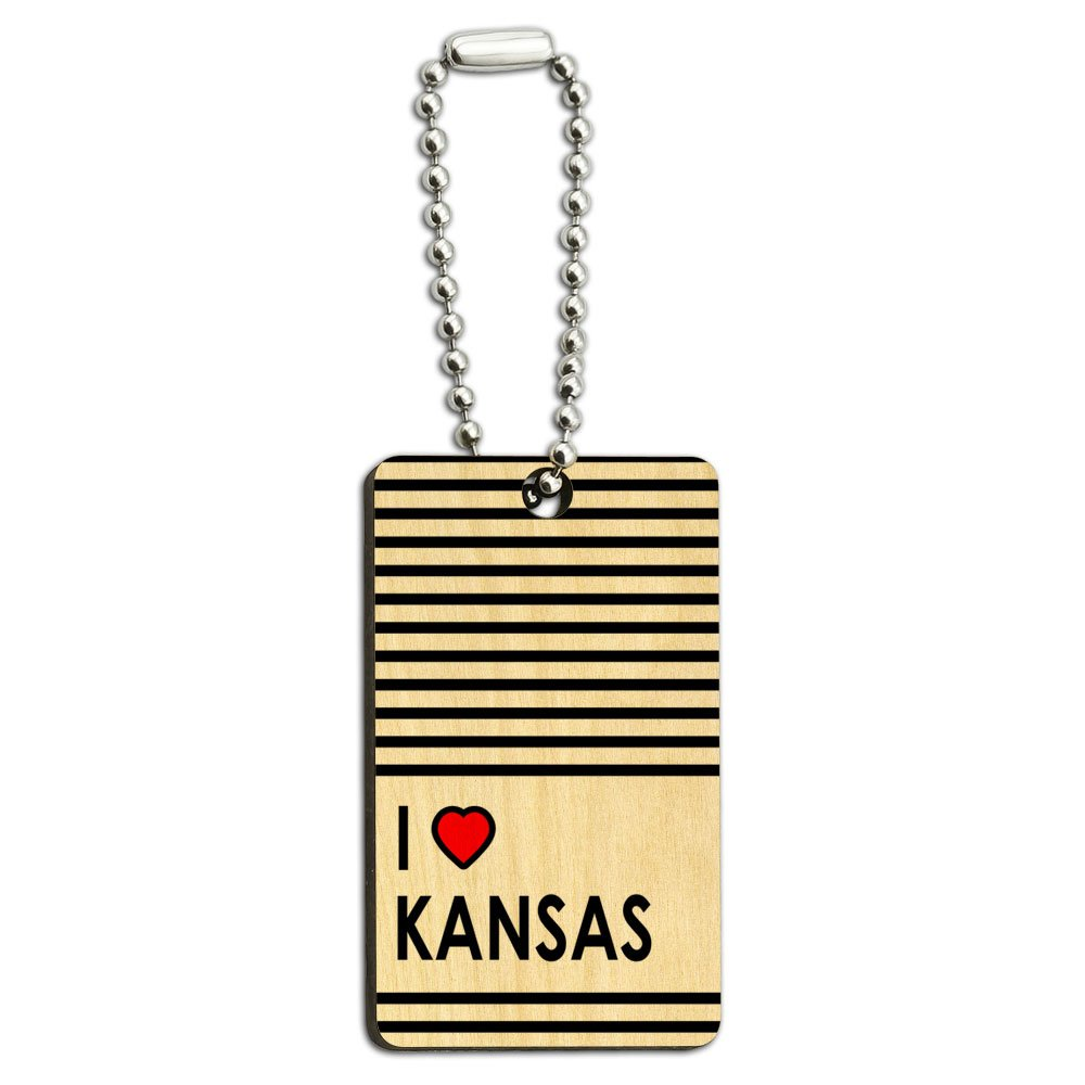 I Love Heart Kansas Wood Wooden Rectangle Key Chain