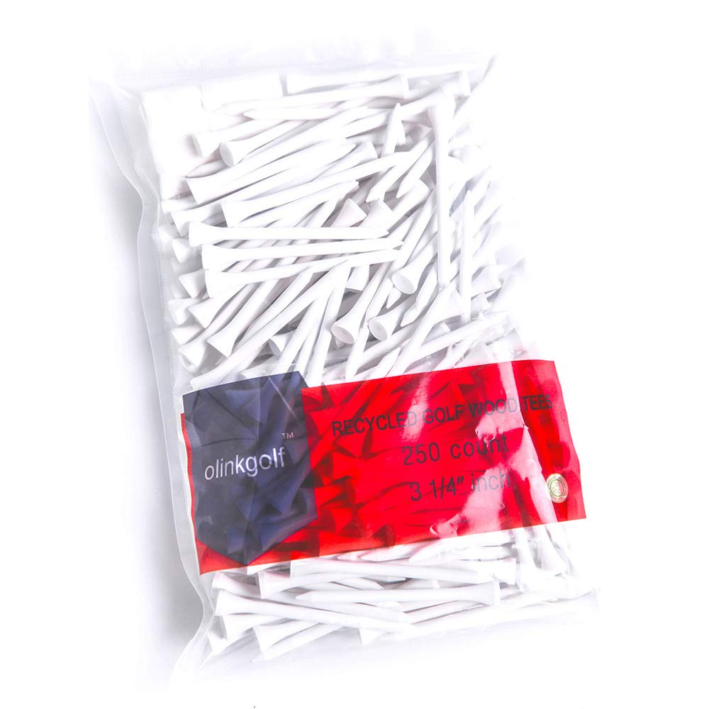 Olinkgolf Premium Sturdy White color Wood Tees 3 1/4'' 250 Count with Golf Tees bag free