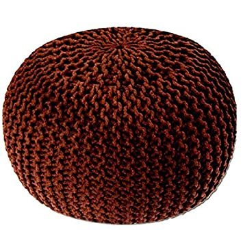 Round Cotton Knitted Pouffe Ball Large 50cm Foot Stool Braided Cushion Seat Rest Furniture