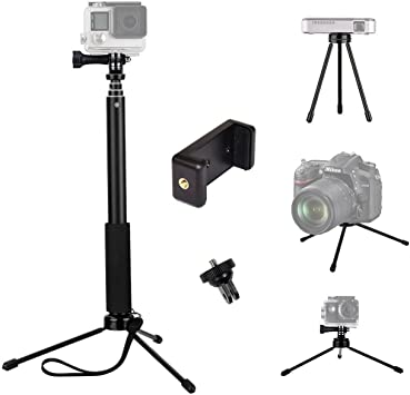 Negro GoPro c/ámara TELESIN 6 en 1 de aleaci/ón de aluminio Monopod selfie Stick Handheld extensible tama/ño bolsillo monedero con Mini tr/ípode y soporte de tr/ípode y tel/éfono clip para Apple