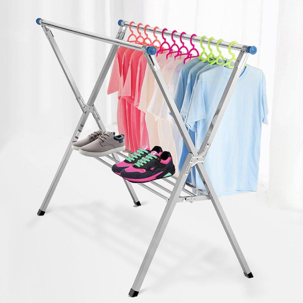 乾燥ラック 乾燥ラックステンレススチールX型ダブルフロア衣類ロッド屋内および屋外バルコニー格納式衣服ラックサイズ(154-240)* 128 * 72 Cm B07JYWCKN7