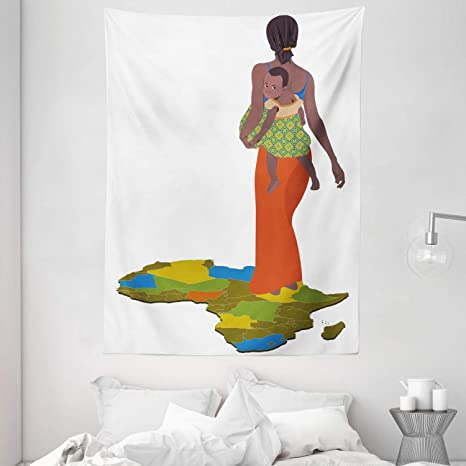 Amazon Com Ambesonne African Tapestry Mother Carrying Baby Girl On Her Back Country Culture Continent Map Wall Hanging For Bedroom Living Room Dorm Decor 60 X 80 Dark Brown Home Kitchen