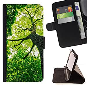 For Sony Xperia m55w Z3 Compact Mini Green Forrest Tree Leather Foilo Wallet Cover Case with Magnetic Closure