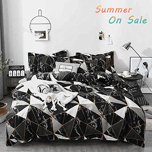 g Queen Set Black Abstract Boys Comforter Sets for Full Size Bed Geometric Triangle Cotton Duvet Cover Set for Man Woman,3 PCS Bedding Set with 2 Pillow Shams,Soft ()