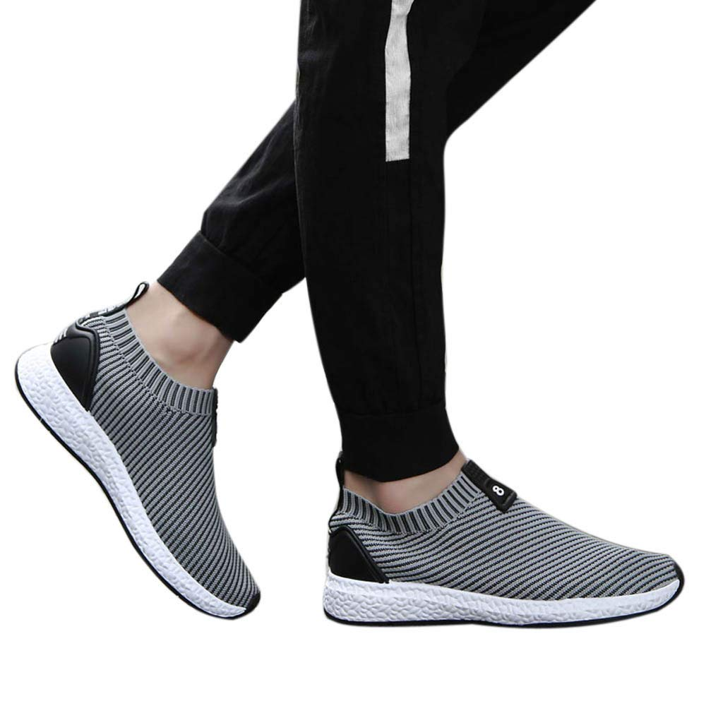 Gyoume Walking Shoes Men Slip-on Ankle Boots Shoes Outdoor Sports Shoes Running Shoes Mesh Sneakers